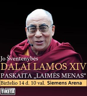 """Jo Šventenybės Dalai Lamos XIV paskaita """"Laimės menas"""""""